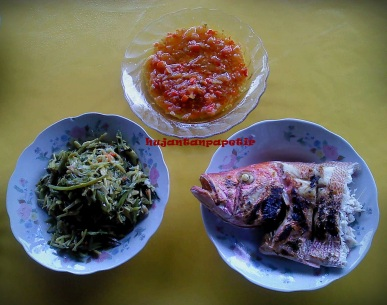 ikan bakar, dabu-dabu, tumis kangkung